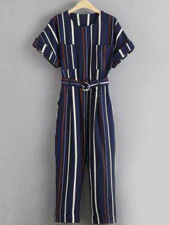 Stripe Round Neck Short Sleeve Jumpsuit - Stripe L