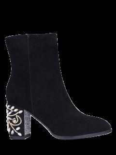 Rhinestones Chunky Heel Zipper Ankle Boots - Black 38