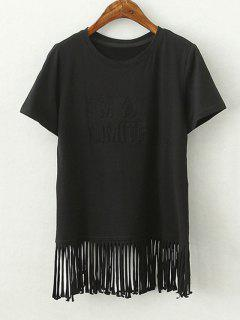 Tassels Spliced Round Collar Short Sleeve T-Shirt - Black S