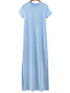 Vestido De Manga Corta De Color Sólido De La Raja Del Lado De Cuello Redondo - Azul Claro L