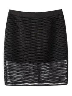 Solid Color High Waisted Mesh Skirt - Black M