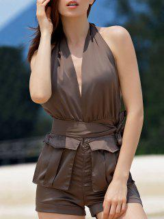 Halter Backless Big Pocket Romper - Brown 2xl