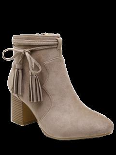 Tassels Zipper Chunky Heel Ankle Boots - Camel 38