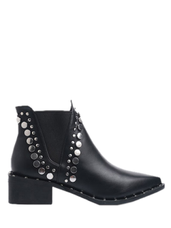 Punk Metal Pointed Toe Ankle Boots - Black 38