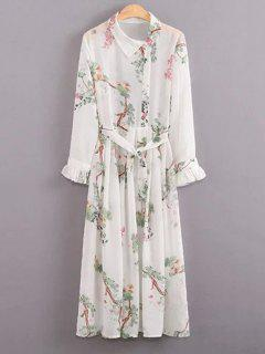 Floral Turn Down Robe à Col à Manches Longues Et Cami Dress Twinset - Blanc M