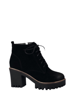 Tie Up Chunky Heel Zip Ankle Boots - Black 38