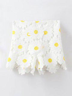 Sunflowers Lace High Waist Shorts - White L