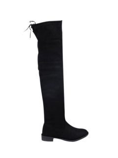 Suede Flat Heel Thigh High Boots - Black 38