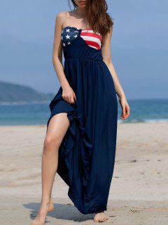 Impreso Tirantes Holgada Vestido Maxi - Azul L