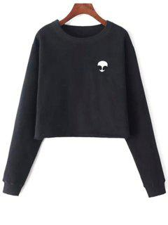 Alien Embroidered Cropped Sweatshirt - Black