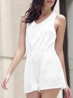 Lace Spliced V-Neck Cut Out Romper - White Xl