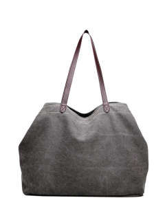 Canvas Stitching Shoulder Bag - Gray