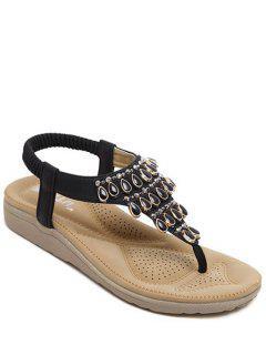 Flat Heel Beading Elastic Sandals - Black 39