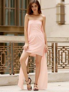 Asimétrica Pecho Envuelto Vestido Del Color Sólido - Rosa Xl