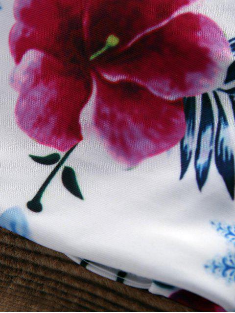 chic Floral Halter String Bikini Cute Bathing Suit - WHITE L Mobile