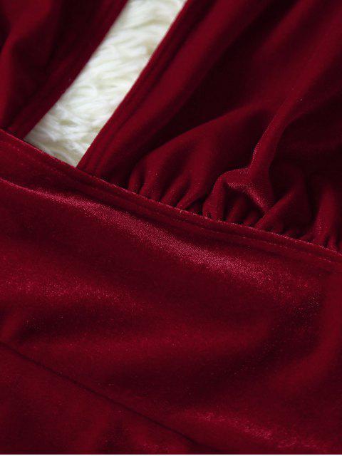 Maillot 1 Pièce en Velours Dos Ouvert - Rouge Foncé L Mobile