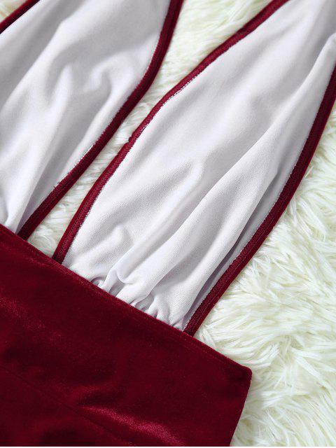 affordable Velvet Open Back One Piece Swimwear - DEEP RED XL Mobile