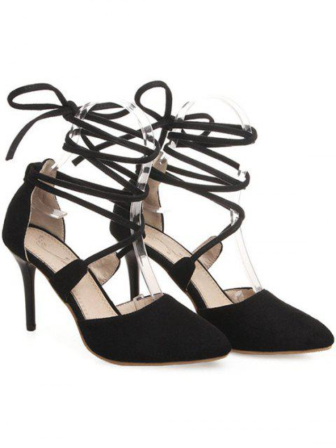 sale Solid Color Flock Lace-Up Pumps -   Mobile