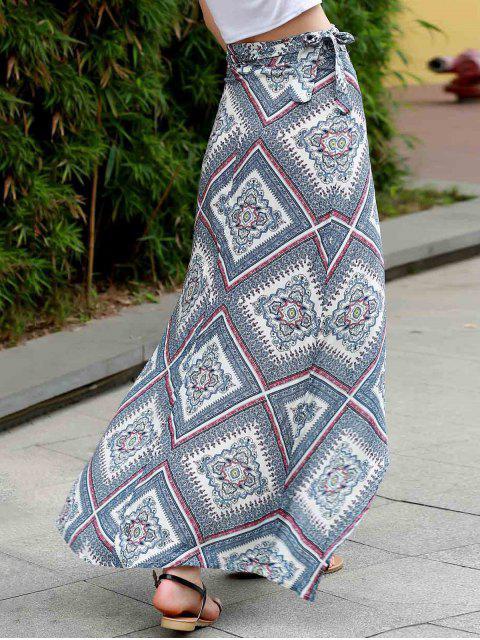 fashion High Waist Asymmetric Wrap Skirt - COLORMIX M Mobile