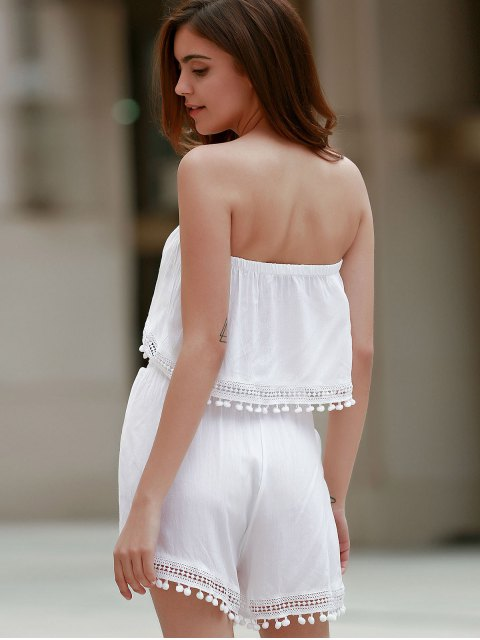fashion Off The Shoulder White Tank Top and Lace Spliced  High Waist Shorts - WHITE L Mobile