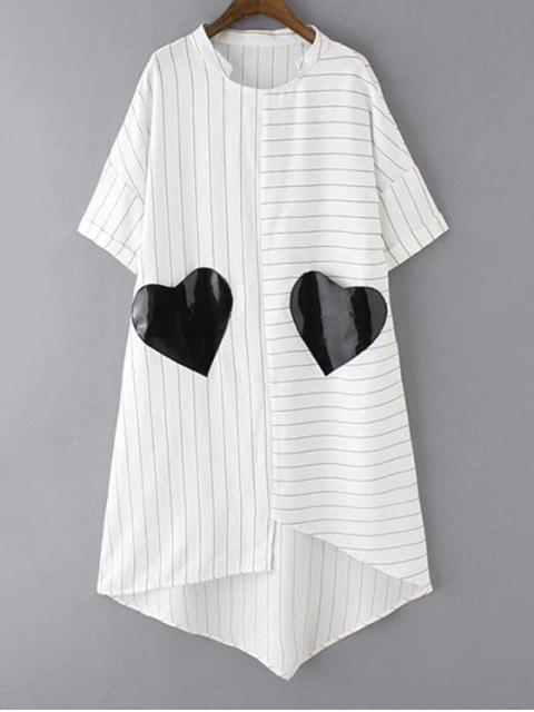 outfits Striped Pockets Patch Irregular Hem Dress - WHITE L Mobile