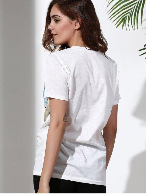 new Sun Print Round Neck Short Sleeve T-Shirt - WHITE XL Mobile