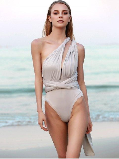 unique Convertible Solid Color Backless Bodysuit - LIGHT GRAY XL Mobile