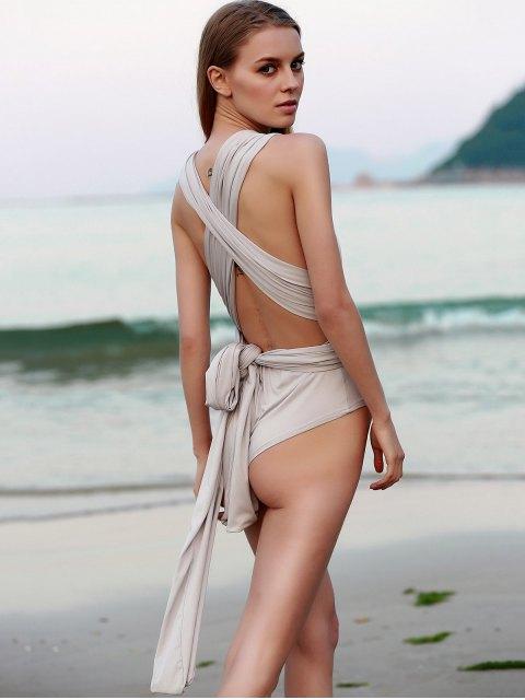 Bodysuit dos nu a couleur dense convertible - Gris Clair M Mobile