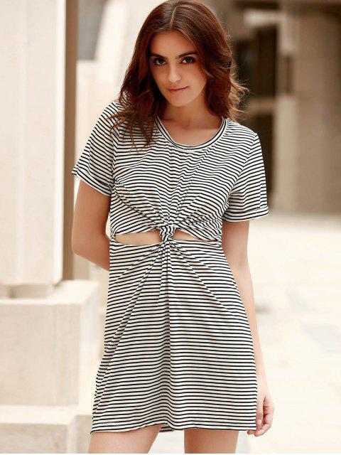 best Striped Round Collar Short Sleeve Knotted Cut Out Dress - WHITE AND BLACK L Mobile
