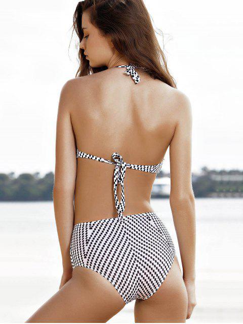 new High-Neck One-Piece Striped Swimwear - WHITE S Mobile
