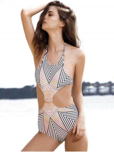 new High-Neck One-Piece Striped Swimwear - WHITE S Mobile