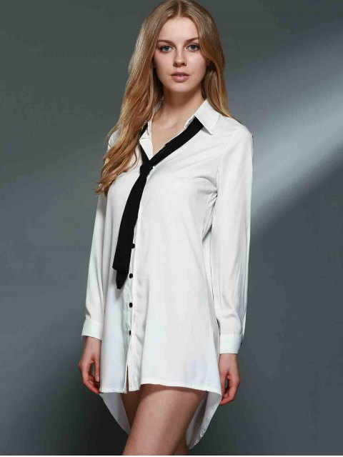 sale Bowknot Embellished Tunic Shirt Dress - WHITE 2XL Mobile