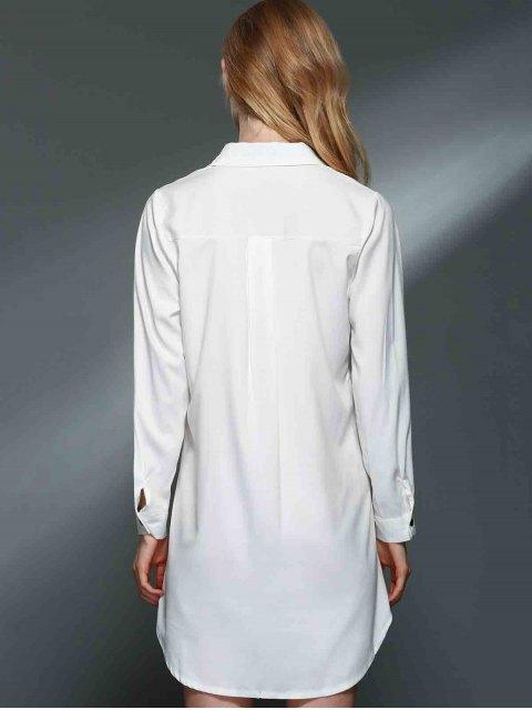 chic Bowknot Embellished Tunic Shirt Dress - WHITE M Mobile