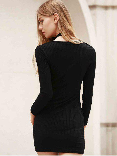 outfit Long Sleeve Black Bodycon Dress - BLACK L Mobile