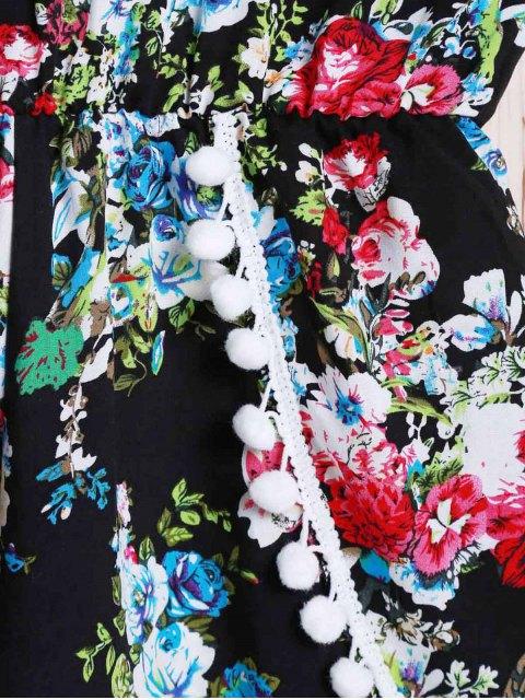 ladies Spaghetti Strap Laciness Floral Romper - BLACK M Mobile