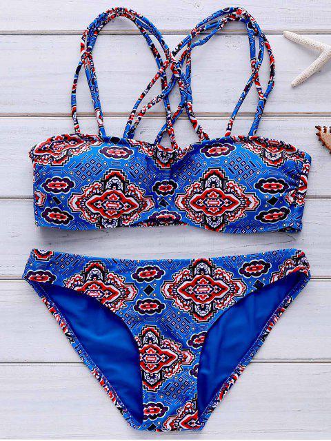 shop Spaghetti Straps Printed Bikini Set - BLUE XL Mobile