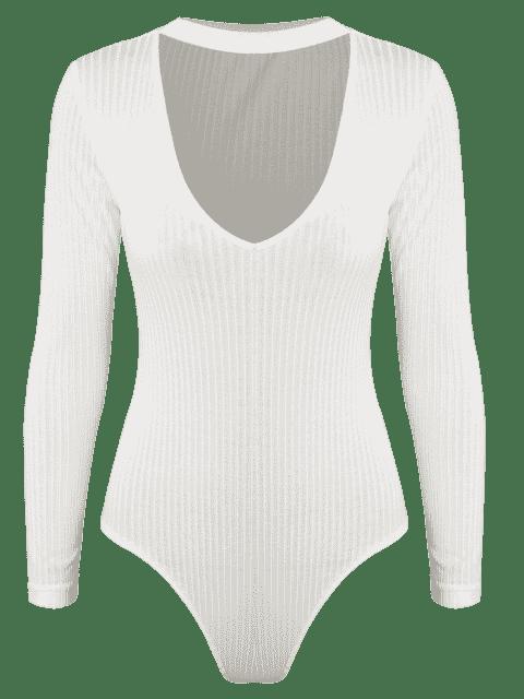 Nuisette Sexy ras du cou découpé à manches longues - Blanc M Mobile