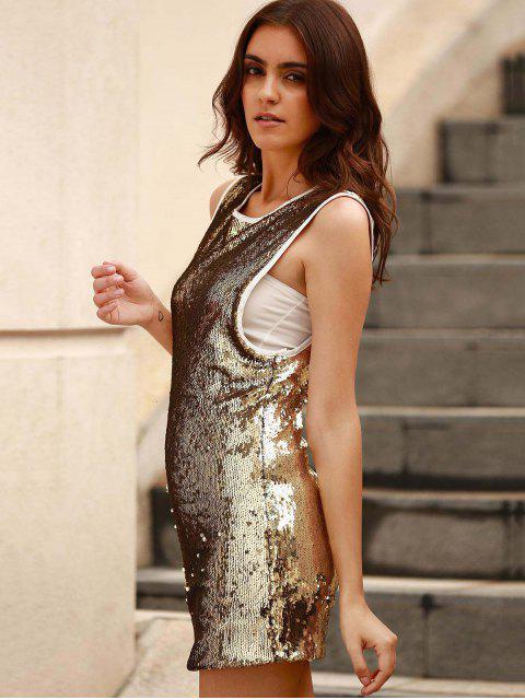 women Sequins Round Collar Sleeveless Bodycon Dress - GOLDEN 2XL Mobile