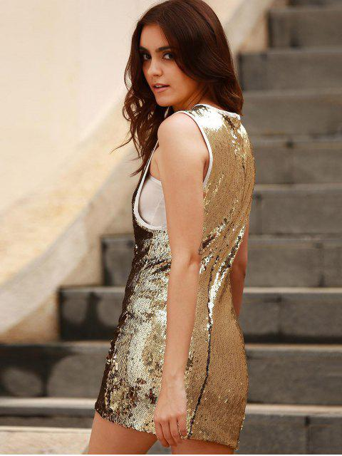 buy Sequins Round Collar Sleeveless Bodycon Dress - GOLDEN L Mobile
