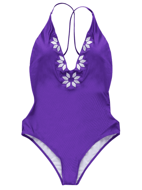 best Embroidered Cami One Piece Swimwear - PURPLE XL Mobile
