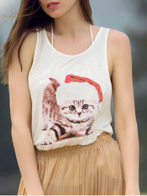 shop Lovely Cat Print Scoop Neck Sleeveless Tank Top - WHITE L Mobile