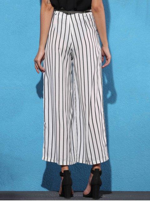 sale Side Knot Stripe Wide Leg Pants - WHITE XL Mobile
