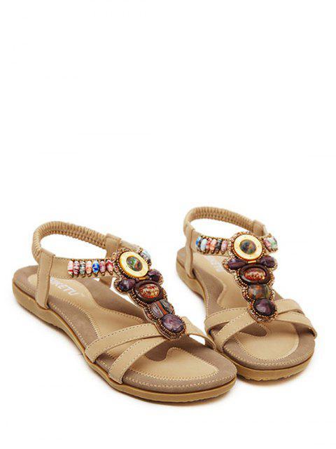 fashion Faux Gem Elastic Flat Heel Sandals - APRICOT 40 Mobile