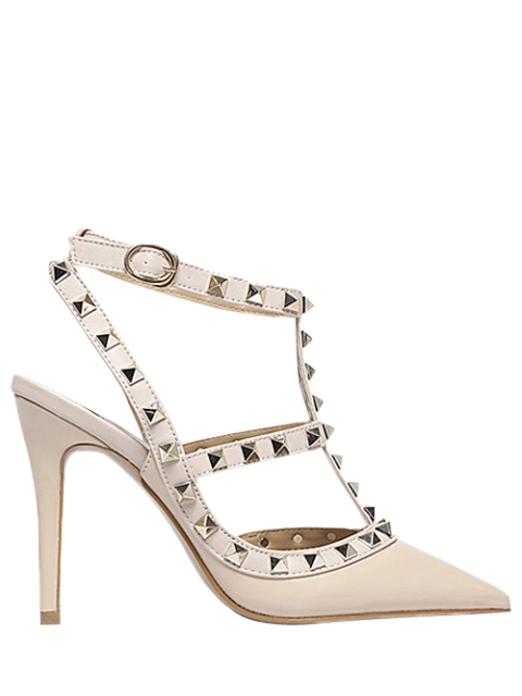 lady Strap Rivet Pointed Toe Pumps -   Mobile