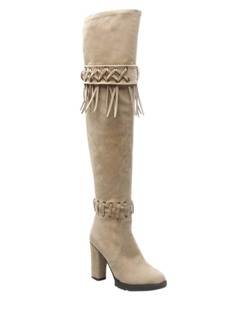 women Fringe Criss-Cross Chunky Heel Thigh Boots - BEIGE 37 Mobile