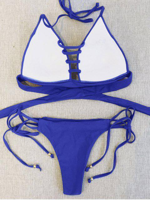 fancy Plunge Bikini Top and Thong Bikini Bottoms - BLUE L Mobile