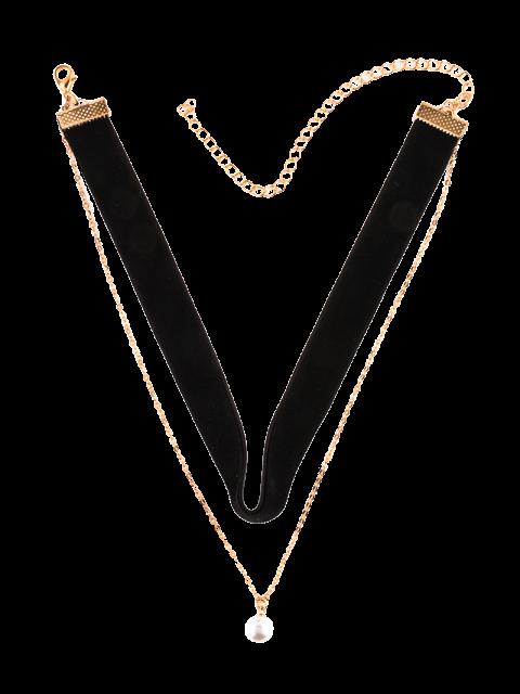 women Faux Pearl Layered Velvet Choker - BLACK  Mobile
