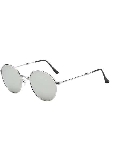 best Cambered Nose Bridge Oval Mirror Sunglasses - SILVER  Mobile