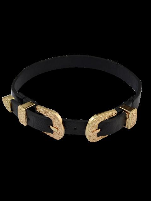 hot Faux Leather Belt Shape Choker Necklace - GOLDEN  Mobile