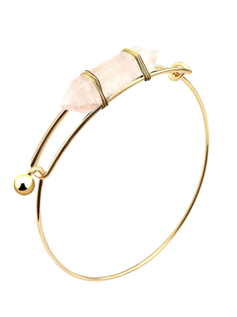 lady Vintage Natural Stone Bullet Shape Bracelet - WHITE  Mobile